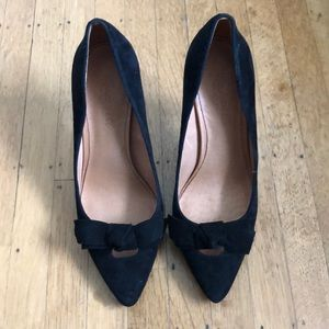 Madewell 7.5 Black Lois Heels with Bow